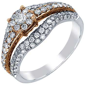 .94ct TCW  White Diamonds 14K Two Tone Gold  Bridal   Matching Set  of Engagement Ring and Band