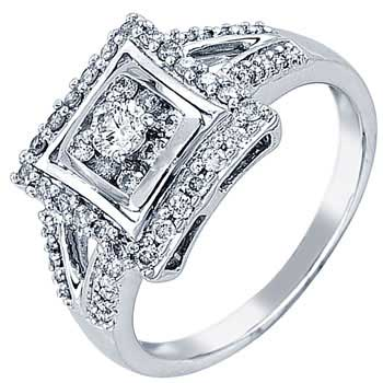 .52ct TCW  White Diamonds 14K White Gold  Cluster   Engagement Ring