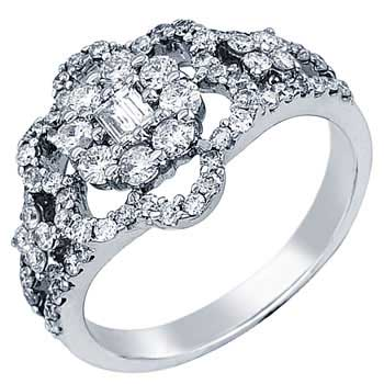 .96ct TCW  White Diamonds 14K White Gold  Cluster   Engagement Ring