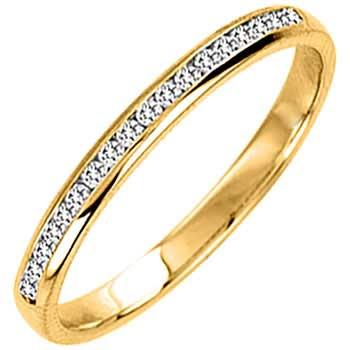 .10ct TCW  White Diamonds 14K Yellow Gold  Diamond Women's Comfort Fit Ring (2mm)