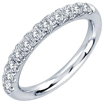 .59ct TCW  White Diamonds 14K White Gold 11-15stones Diamond Women's Comfort Fit Ring