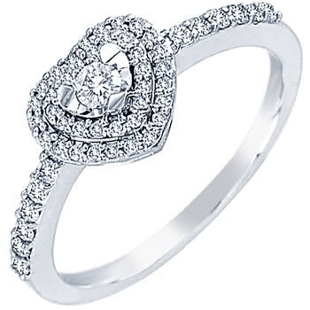 .35ct TCW  White Diamonds 18K White Gold  One Stone   Engagement Ring