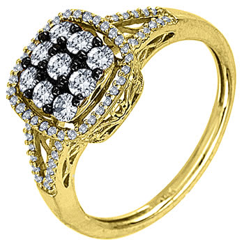 .65ct TCW  White Diamonds 14K Two Tone Gold  Cluster   Engagement Ring