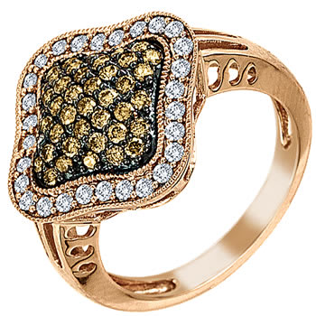 1.00ct TCW  Black & White Diamonds 14K Two Tone Gold  Cluster   Engagement Ring