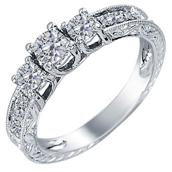 .50ct TCW  White Diamonds 14K White Gold  Three Stone   Engagement Ring