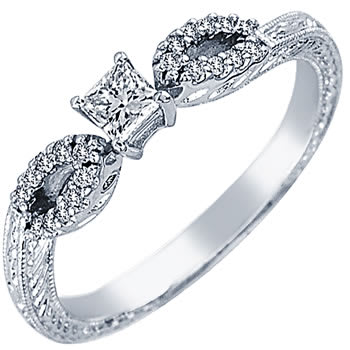.35ct TCW  White Diamonds 14K White Gold  One Stone   Engagement Ring