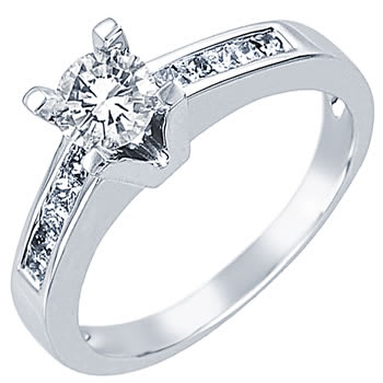 .80ct TCW  White Diamonds 14K White Gold  One Stone   Engagement Ring