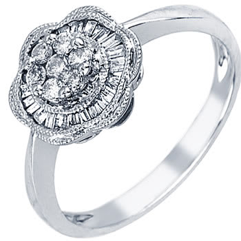.40ct TCW  White Diamonds 14K White Gold  Cluster   Engagement Ring
