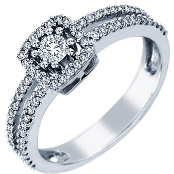 .52ct TCW  White Diamonds 14K White Gold  Halo   Engagement Ring