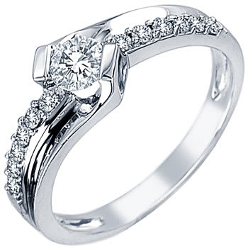 .60ct TCW  White Diamonds 14K White Gold  One Stone   Engagement Ring