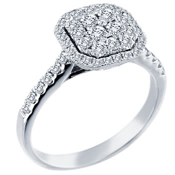 .72ct TCW  White Diamonds 14K White Gold  Cluster   Engagement Ring