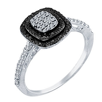 .40ct TCW  Black & White Diamonds 14K Two Tone Gold  Cluster   Engagement Ring