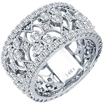3.50ct TCW  White Diamonds 14K White Gold  Diamond Women's Comfort Fit Ring