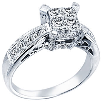 1.4ct TCW  White Diamonds 14K White Gold  Cluster   Engagement Ring