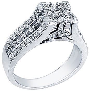 1.15ct TCW  White Diamonds 18K White Gold  Cluster   Engagement Ring