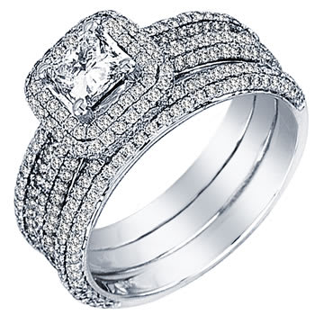 1.40ct TCW  White Diamonds 14K White Gold  Bridal   Matching Set  of Engagement Ring and Band