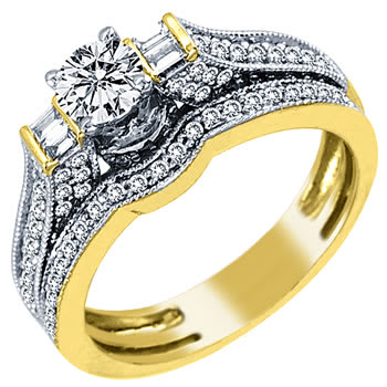 1.00ct TCW  White Diamonds 14K Two Tone Gold  Bridal   Matching Set  of Engagement Ring and Band
