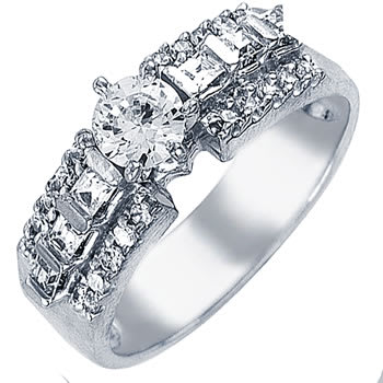 .96ct TCW  White Diamonds 14K White Gold  One Stone   Engagement Ring