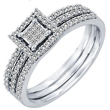 .60ct TCW  White Diamonds 14K White Gold  Bridal   Matching Set  of Engagement Ring and Band
