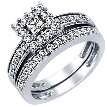 1.00ct TCW  White Diamonds 14K White Gold  Bridal   Matching Set  of Engagement Ring and Band