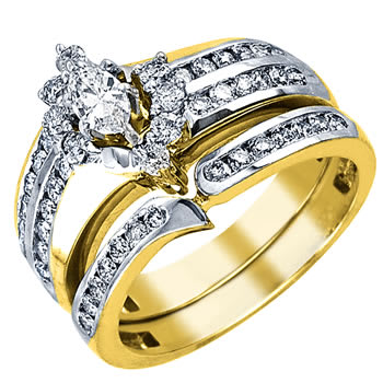 1.25ct TCW  White Diamonds 14K Two Tone Gold  Bridal   Matching Set  of Engagement Ring and Band