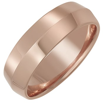14K Rose Gold Knife Edge Plain Unisex Comfort Fit Band (6mm)