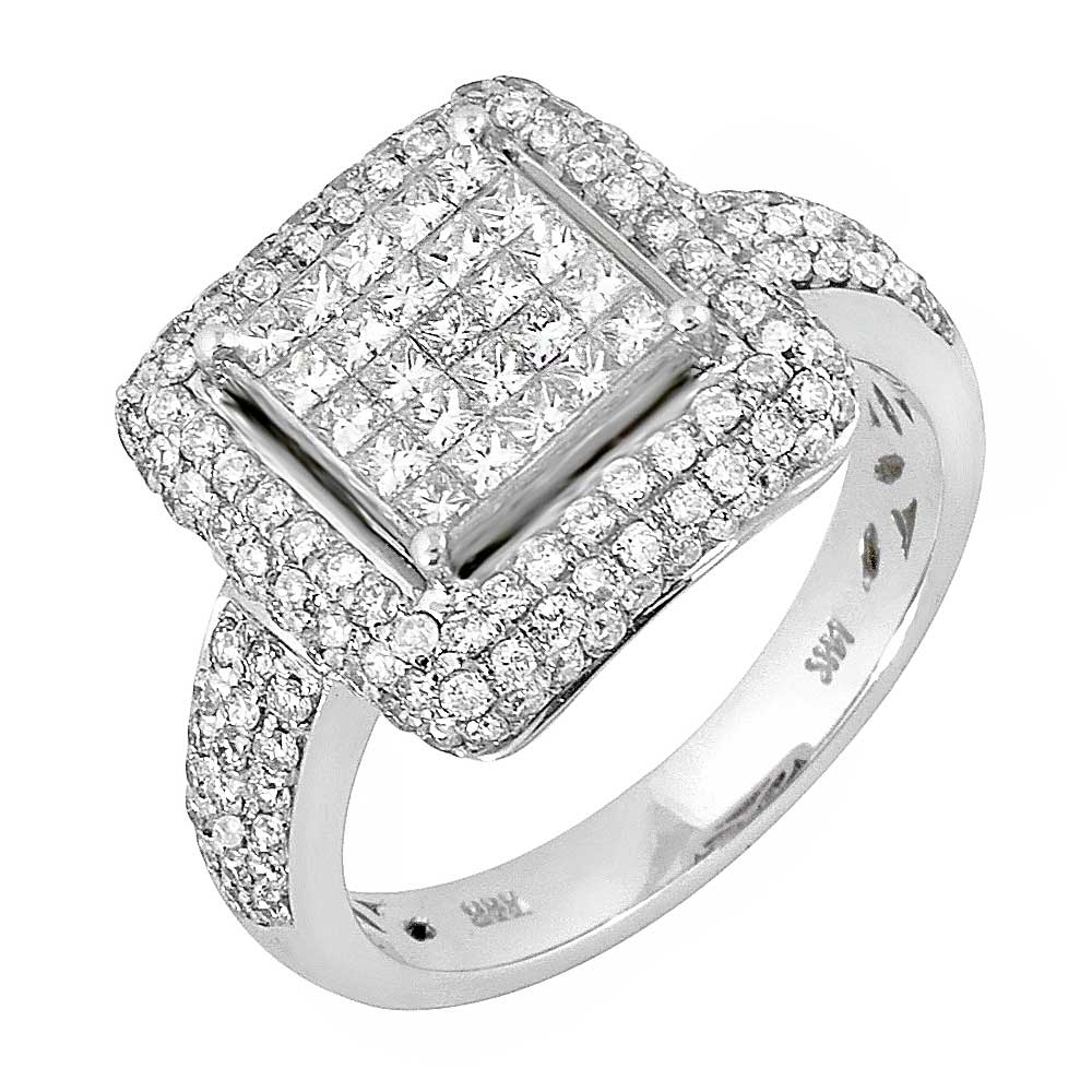 3076427d44a 1.68ct TCW 14K White Gold Cluster Engagement Ring -4003539 - Shop at Wedding  Rings Depot- Big Discounts on Diamonds