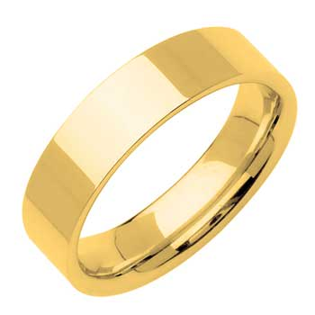 14K Yellow Gold Top Flat Plain Unisex Comfort Fit Band (8mm)