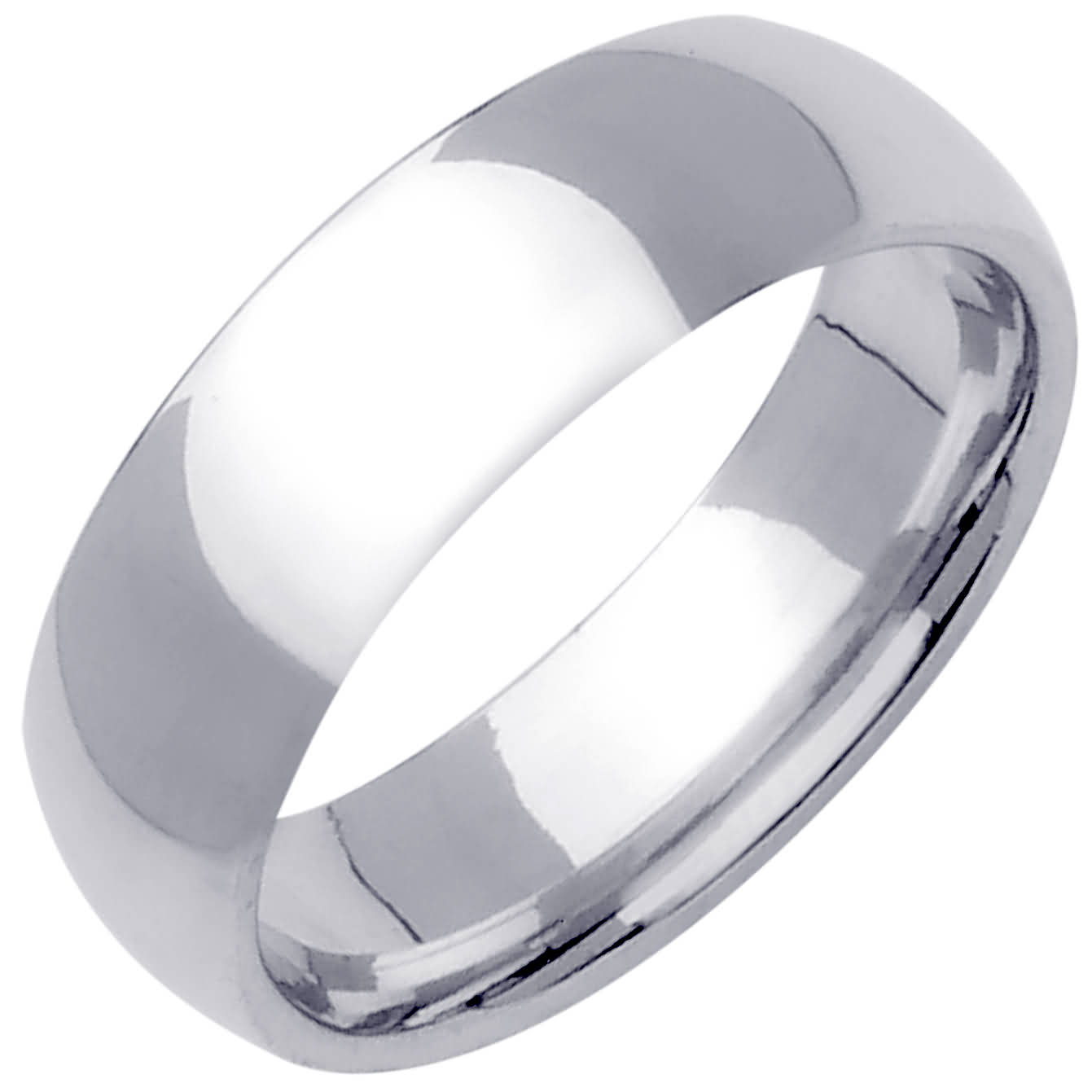 14K White Gold Dome Plain Unisex Comfort Fit Band (7mm)
