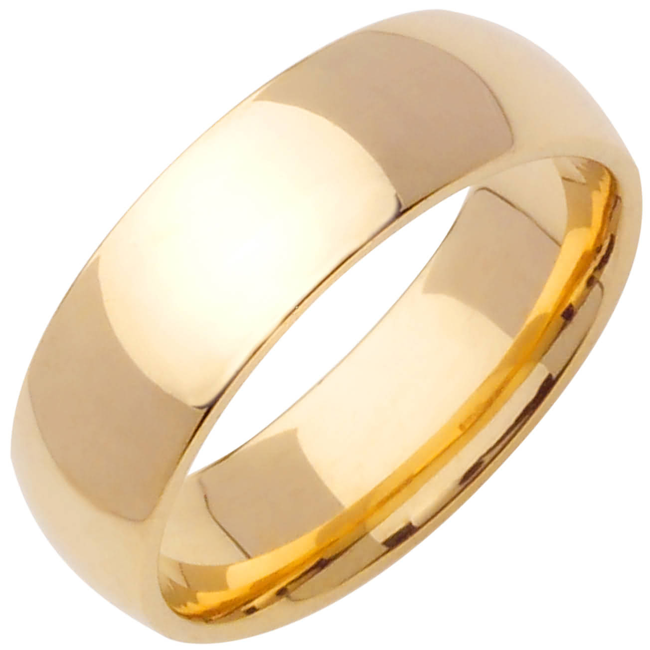 14K Yellow Gold Dome Plain Unisex Comfort Fit Band (7mm)