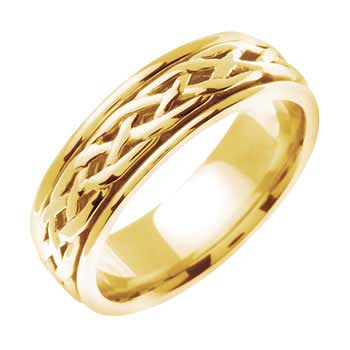 18K Yellow Gold Infinity Knot Celtic Unisex Comfort Fit Band (6.5mm)