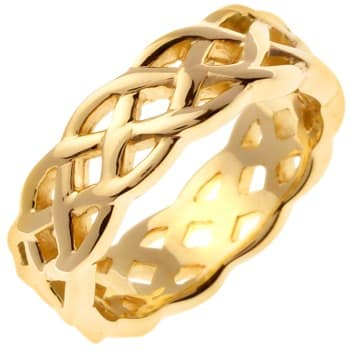 14K Yellow Gold Infinity Knot Celtic Unisex Comfort Fit Band (7mm)