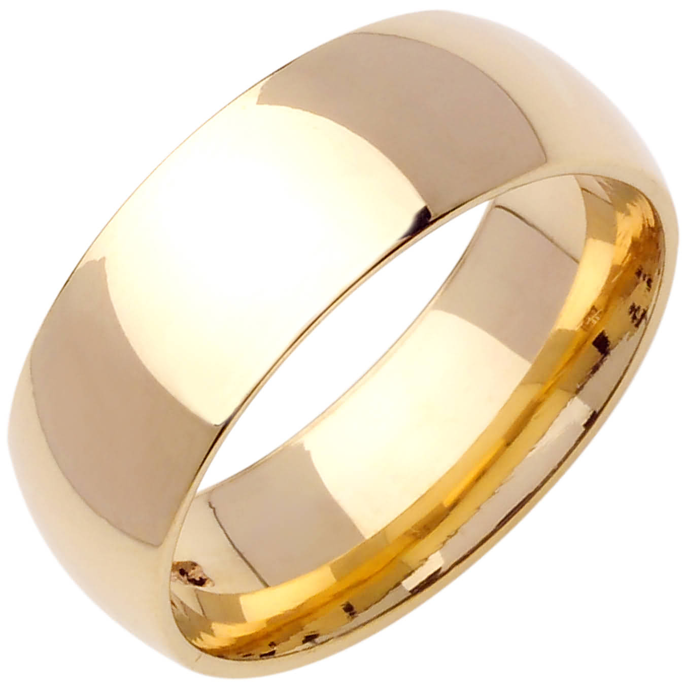 18K Yellow Gold Dome Plain Unisex Comfort Fit Band 8mm