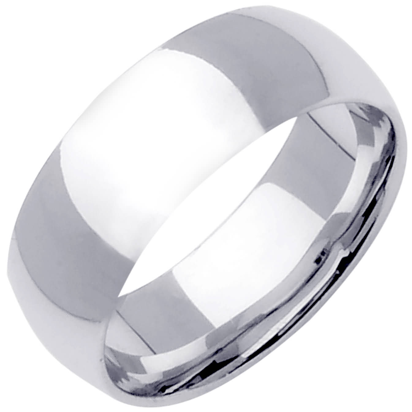 14K White Gold Dome Plain Unisex Comfort Fit Band (8mm)