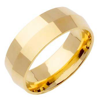 18K Yellow Gold Knife Edge Plain Unisex Comfort Fit Band (8mm)