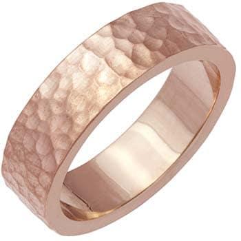 14k Rose Gold Hammered Plain-dome Design Comfort-fit Wedding Bands (6mm)