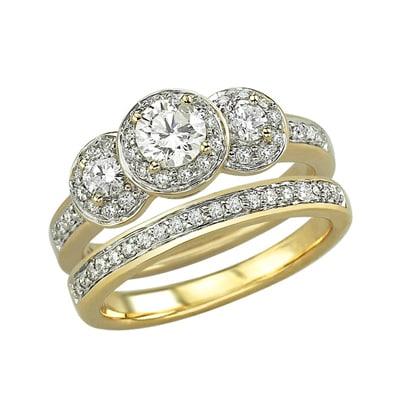 Attrayant 14K 2 Piece Diamond Wedding Ring Set 1.00ct