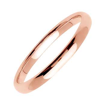 14K Yellow Gold Dome Plain Unisex Comfort Fit Band (2mm)