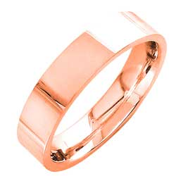 14K Rose Gold Top Flat Plain Unisex Comfort Fit Band (5mm)