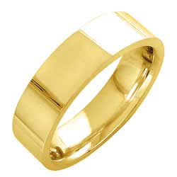 18K Yellow Gold Top Flat Plain Unisex Comfort Fit Band (6mm)