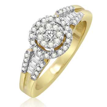 .50ct TCW  White Diamonds 14K Yellow Gold  Cluster   Engagement Ring