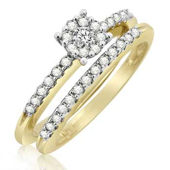 .48ct TCW  White Diamonds 14K Two Tone Gold  Bridal   Matching Set  of Engagement Ring and Band