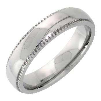 Stainless Steel Milgrain Plain Women's Comfort Fit Ring (5mm)