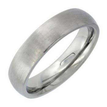 Stainless Steel Dome Plain Women's Comfort Fit Ring (5mm)