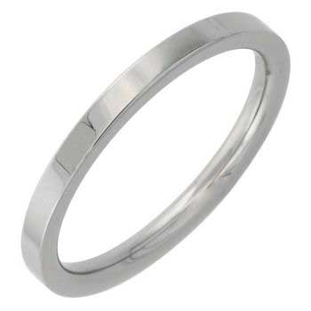 Stainless Steel Top Flat Plain Women's Comfort Fit Ring (2mm)