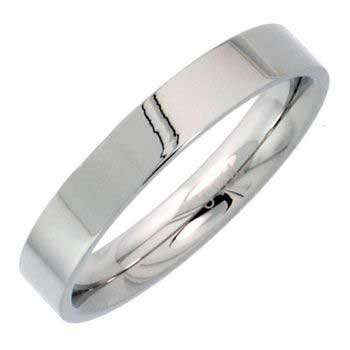 Stainless Steel Top Flat Plain Women's Comfort Fit Ring (4mm)