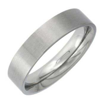 Stainless Steel Top Flat Plain Women's Comfort Fit Ring (5mm)