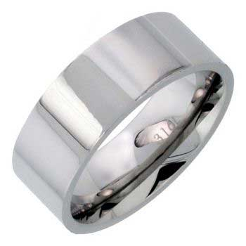 Stainless Steel Top Flat Plain Men's Comfort Fit Band (8mm)