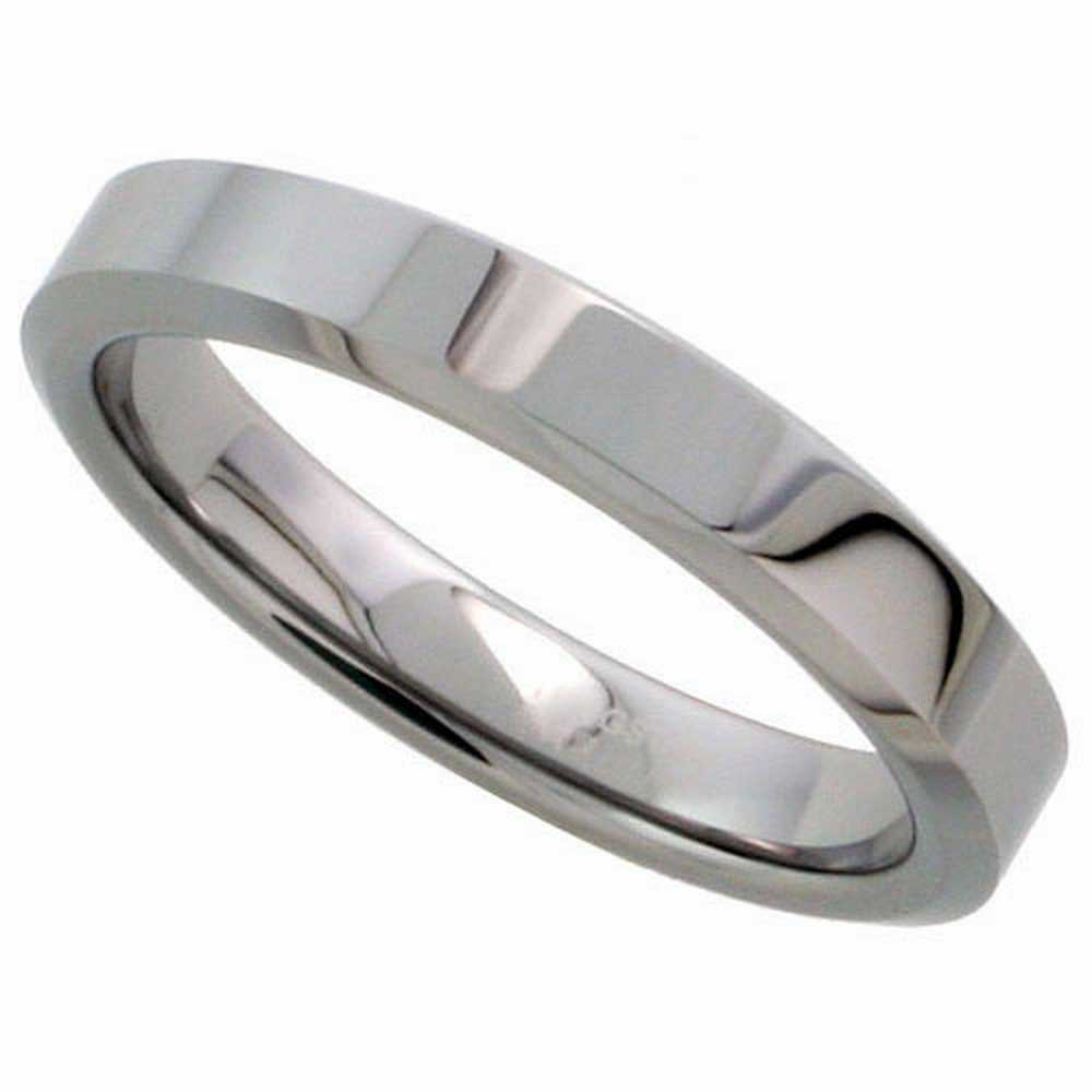 Tungsten Top Flat Plain Unisex Comfort Fit Band (4mm)