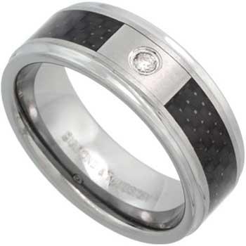 .05ct TCW  White Diamonds Tungsten  Diamond Unisex Comfort Fit Ring (8mm)